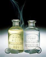 AMMONIUM CHLORIDE FOG FORMATION<br /> Two Reagent Bottles Of HCl &amp; NH3OH Are Unstoppered<br /> The reaction between gaseous NH3 &amp; HCl escaping from the aqueous solutions forms a white fog of solid NH4Cl. Bronsted-Lowry acids and bases.