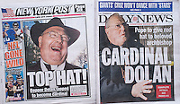 The headlines of the New York Daily News and the New York Post  report in their Saturday, January 7, 2012 editions on the elevation of NY Archbishop Timothy Dolan to Cardinal. Pope Benedict nominated 22 new cardinals including Dolan. (© Richard B. Levine)
