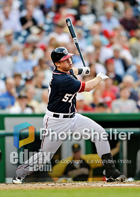 16 May 2012: Washington Nationals first baseman Tyler Moore in action against the Pittsburgh Pirates at Nationals Park in Washington, DC. The Nationals defeated the Pirates 7-4 in the first game of their 2-game series. Mandatory Credit: Ed Wolfstein Photo