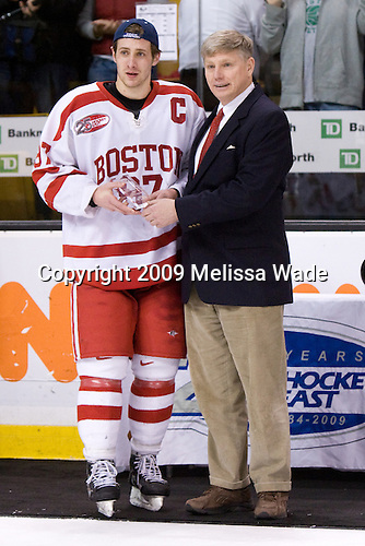 Matt Gilroy (BU - 97) - The Boston University Terriers defeated the University of Massachusetts-Lowell 1-0 in the Hockey East Championship Final on Saturday, March 21, 2009, at the TD Banknorth Garden in Boston, Massachusetts.