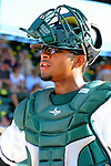 2 July 2011: Vermont Lake Monsters catcher Diomedes Lopez is ready for the start of play against the Tri-City ValleyCats at Centennial Field in Burlington, Vermont. The Lake Monsters rallied from a 4-2 deficit to defeat the ValletCats 7-4 in NY Penn League action. Mandatory Credit: Ed Wolfstein Photo