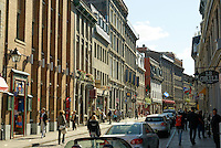 People strolling on Rue Saint-Paul in Old Montreal, Quebec, Canada