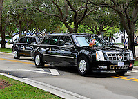 MIAMI, FL - NOVEMBER 03: View of President Barack Obama presidential limo arriving at FIU campus to speaks during a campaign rally in support of Democratic presidential candidate Hillary Clinton at Florida International University on November 3, 2016 in Miami, Florida. Election day for the presidential candidates is 5 days away Credit: MPI10 / MediaPunch
