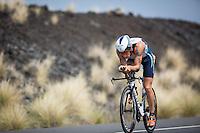 Sebastian Kienle on the Queen K on the bike at the 2013 Ironman World Championship in Kailua-Kona, Hawaii on October 12, 2013.