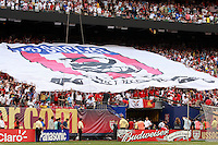 "The ""Don't Tread on Me"" banner at the west end. The men's national teams of the United States and Argentina played to a 0-0 tie during an international friendly at Giants Stadium in East Rutherford, NJ, on June 8, 2008."
