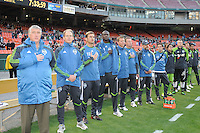 Seattle Sounders bench at the signing of the National Anthem.   DC United defeated The Seattle Sounders 2-1 at  RFK Stadium, Wednesday May 4, 2011.