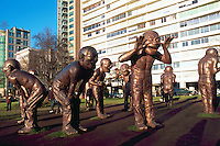 """A-maze-ing Laughter"" Sculpture (artist Yue Minjun) at Vancouver Biennale Exhibition, Vancouver, BC, British Columbia, Canada - Public Art and Tourist Attraction at Morton Park in the West End near English Bay"