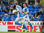 St Johnstone v Celtic&hellip;20.08.16..  McDiarmid Park  SPFL<br />Danny Swanson celebrates his penalty with Liam Craig<br />Picture by Graeme Hart.<br />Copyright Perthshire Picture Agency<br />Tel: 01738 623350  Mobile: 07990 594431