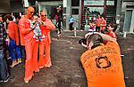 Nederland, Utrecht, 30-04-2012. Koninginnedag feestvierders in de binnenstad. FOTO: Gerard Til / Hollandse Hoogte