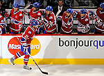 11 November 2008:  Montreal Canadiens' left wing forward Christopher Higgins is congratulated by teammates after scoring a shorthanded goal in the first period, the first of his three for the evening against the Ottawa Senators at Bell Centre in Montreal, Quebec, Canada. The Canadiens shut out the visiting Senators 4-0 with Higgins being named first star of the game. ***Editorial Sales Only***..Mandatory Photo Credit: Ed Wolfstein Photo *** Editorial Sales through Icon Sports Media *** www.iconsportsmedia.com