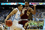 30 January 2016: North Carolina's Marcus Paige (5) and Boston College's Sammy Barnes-Thompkins (55). The University of North Carolina Tar Heels hosted the Boston College Eagles at the Dean E. Smith Center in Chapel Hill, North Carolina in a 2015-16 NCAA Division I Men's Basketball game. UNC won the game 89-62.