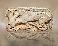 "Lion killing deer  from the ""Satyr Hunting Wils Animals, freezes, 460 B.C.  From Xanthos, UNESCO World Heritage site, south west Turkey. A British Museum exhibit GR 1848-10-20-2-9 (sculpture B 2902- 298)."