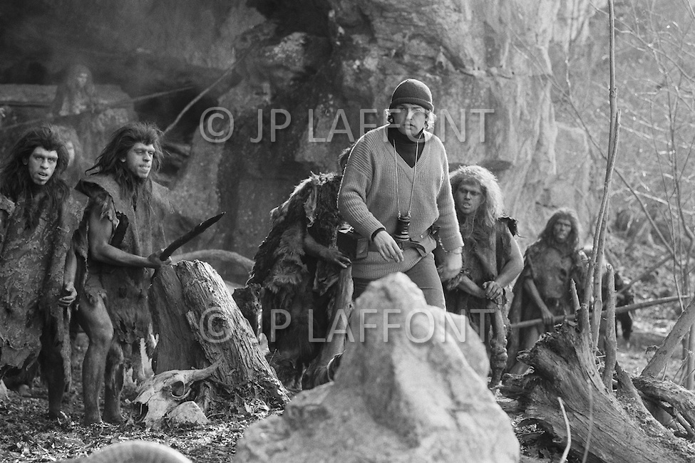 """March 1981, Scotland, UK. French director Jean-Jacques Annaud, on the set of """"Quest for Fire"""" (La guerre du feu), based on the novel of JH Rosny. Image by © JP Laffont"""