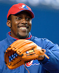 Montreal, Quebec, Canada - 8/26/03 - Montreal Expos star outfielder Vladimir Guerrero during pre-game batting practice at Olympic Stadium. Guerrero has surpassed Andre Dawson with the most all time career home runs as an Expo. Guerrero becomes a free agent at the conclusion of the 2003 season. Mandatory Credit: Ed Wolfstein Photo