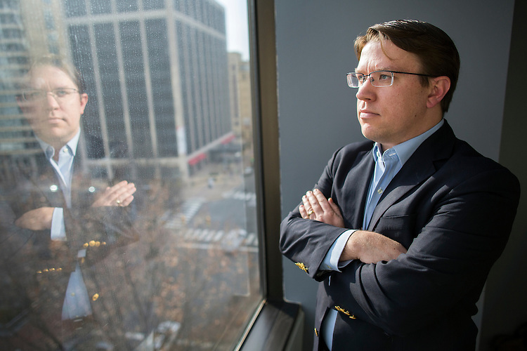 UNITED STATES - DECEMBER 11 - Brian Rogers, Executive Director of America Rising Squared, poses for a portrait in his office in Rosslyn, Va., Friday, December 11, 2015. Rogers is a former communications strategist for Sen. John McCain, R-Ariz., who was recently tapped to head the nonprofit, policy-focused wing of the political action committee America Rising. (Photo By Al Drago/CQ Roll Call)