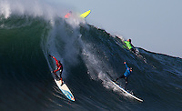 Half Moon Bay - Ca, Sunday, January 20, 2013: Peter Mel and Shawn Dollar compete during the 2013 Mavericks Invitational..