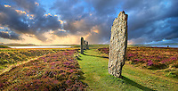 The Ring of Brodgar  ( circa 2,500 to 2,000 BC) is a Neolithic henge with a stone circle inside, the third largest in the British Isles and a UNESCO World Heritage Site, Mainland Orkney, Scotland