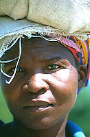 Luyha woman in the small town of Khayega near the Kakamega forest in west Kenya. Luyha is the second largest tribe in Kenya of about 3.1 million people.