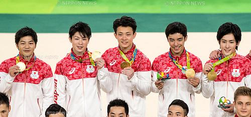 (L-R) Koji Yamamuro, Kohei Uchimura, Yusuke Tanaka, Kenzo Shirai, Ryohei Kato (JPN),<br /> AUGUST 8, 2016 - Artistic Gymnastics :<br /> Koji Yamamuro, Kohei Uchimura, Yusuke Tanaka, Kenzo Shirai and Ryohei Kato of Japan pose with their gold medals on the podium during the Men's Team Medal Ceremony at Rio Olympic Arena during the Rio 2016 Olympic Games in Rio de Janeiro, Brazil. (Photo by Enrico Calderoni/AFLO SPORT)