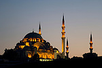 The Suleymaniye Mosque at dusk, Istanbul, Turkey