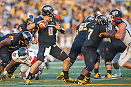 Towson, MD - September 9, 2016: Towson Tigers quarterback Ellis Knudson (8) attempts a pass during game between Towson and St. Francis at Minnegan Field at Johnny Unitas Stadium  in Towson, MD. September 9, 2016.  (Photo by Elliott Brown/Media Images International)
