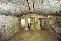 Interior of the Etruscan Tumulus tomb of Mengaerlli, 6th century BC, Necropoli della Banditaccia, Cerveteri, Italy. A UNESCO World Heritage Site