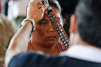 A woman being screened for problems with her sight at a mobile clinic, Bali, Indonesia.