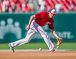 22 August 2015: Washington Nationals infielder Trea Turner fields grounders prior to a game against the Milwaukee Brewers at Nationals Park in Washington, DC. The Nationals defeated the Brewers 6-1 in the second game of their 3-game weekend series. Mandatory Credit: Ed Wolfstein Photo *** RAW (NEF) Image File Available ***