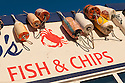 Fish & Chips sign at Gino's restaurant in Newport on the central Oregon Coast.