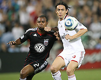 Julius James #2 of D.C. United pushes up against Filippo Inzaghi #9  of A.C.Milan during an international friendly match at RFK Stadium, on May 26 2010 in Washington DC. United won 3-2.