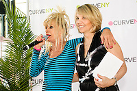 Betsey Johnson, and Carole Hochman on stage at the CURVE and CFDA Party For A Cause event during the CURVENY Lingerie & Swim show, at the Jacob Javits Convention Center, August 2, 2010.