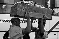 Brazilian dock workers carry a large box full of fish on their heads in Ver-o-Peso market in the port of Belem, Brazil, 5 October 2002. Amazonia is the world's largest dense tropical forest area. Since the 16th century the original indigenous people have been virtually pushed away or exterminated. The primal ancient unity between tribes and the jungle ambient has changed into a fight between the urban based civilization and the jungle enviroment. Although new generations of white and mestizo settlers have not become adapted to the wild tropical climate and rough conditions, they keep moving deeper into the virgin forest. The technological expansion causes that Amazonia is changing rapidly.