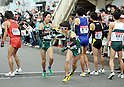 (L to R) Kento Sato (Aoyama-Univ), Takehiro Deki (Aoyama-Univ), JANUARY 2, 2012 - Athletics : The 88th Hakone Ekiden Race the Tsurumi Relay place in Kanagawa, Japan. (Photo by Atsushi Tomura/AFLO SPORT) [1035].