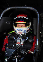 Feb. 19, 2010; Chandler, AZ, USA; NHRA funny car driver Ashley Force Hood during qualifying for the Arizona Nationals at Firebird International Raceway. Mandatory Credit: Mark J. Rebilas-