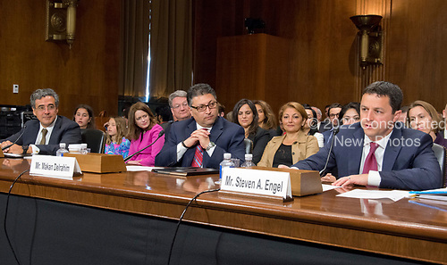 From left to right: Noel J. Francisco, Makan Delrahim, and  Steven A. Engel testify before the United States Senate Committee on the Judiciary on their nominations to be Solicitor General of the US; Assistant Attorney General, Antitrust Division of the US Department of Justice; and Assistant Attorney General, Office of Legal Counsel, US Department of Justice; respectively, on Capitol Hill in Washington, DC on Wednesday, May 10, 2017.<br /> Credit: Ron Sachs / CNP