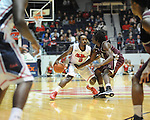"Ole Miss' Derrick Millinghaus (3) vs. Arkansas Little Rock's Josh Hagins (3) at the C.M. ""Tad"" Smith Coliseum in Oxford, Miss. on Friday, November 16, 2012. Ole Miss won 92-52."