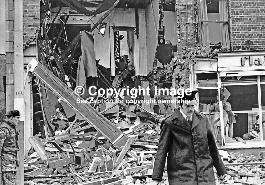 Kaitcer's antiques shop, Dublin Road, Belfast, N Ireland, after Provisional IRA bomb exploded in the premises. The shop's owner, Leonard Kaitcer, was kidnapped over two years later. His body was found on the Glen Road, Andersonstown.  Although no organisation admitted responsibility it was assumed that a republican organisation was involved because of where the body was found. 197201260034a.<br />