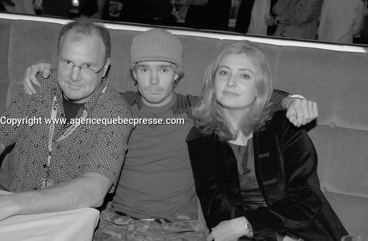 September 2,  2003, Montreal, Quebec, Canada<br /> <br /> Jack Torbes (L), Jeremiah hassemer (M) and Tamara  Tama (R), actors in  THE GUN, pose for an exclusive photo during aFilm Festival  party at TIMES CLUB <br /> september 2 2003<br /> <br /> The Festival runs from August 27th to september 7th, 2003<br /> <br /> <br /> Mandatory Credit: Photo by Pierre Roussel- Images Distribution. (&copy;) Copyright 2003 by Pierre Roussel <br /> <br /> All Photos are on www.photoreflect.com, filed by date and events. For private and media sales