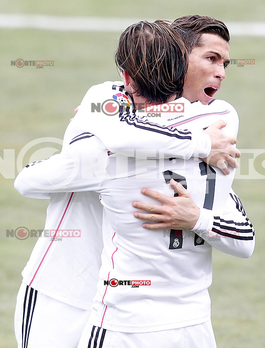 Real Madrid's Garet Bale (r) and Cristiano Ronaldo celebrate goal during La Liga match.January 18,2013. (ALTERPHOTOS/Acero) /NortePhoto<br />
