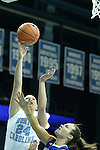 25 November 2012: North Carolina's Whitney Adams (24) shoots over Asheville's Gentry Manley (right). The University of North Carolina Tar Heels played the UNC Asheville Bulldogs at Carmichael Arena in Chapel Hill, North Carolina in an NCAA Division I Women's Basketball game. UNC won the game 101-42.