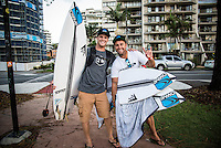 Snapper Rocks, Coolangatta Queensland Australia (Monday, March 14 2016):Stu Kennedy (AUS)  with Trent Munro (AUS) coach - Round Two of the first WCT event of the year, the Quiksilver Pro Gold Coast, was completed this morning followed by Round Three and two heats of Round Four.  The upsets continued with the Tour Rookies taking out out a good proportion of the heats with Stu Kennedy(AUS) again showing great form by defeating Gabriel Medina (BRA). The event was put on hold for over 2 hours while organisers waited for the tide to drop. The surf was in the 4'-5' range most of the day.Photo: joliphotos.com