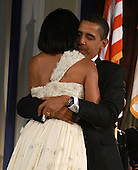 Washington, DC - January 20, 2009 -- United States President Barack Obama dances with First Lady Michelle Obama at the Eastern-States Inaugural Inuagural Ball at Union StationJanuary 20, 2009 in Washington, DC. Obama was sworn in as the 44th President of the United States, becoming the first African American to be elected President of the U.S..Credit: Mark Wilson - Pool via CNP