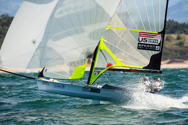 SANTANDER, SPAIN - SEPTEMBER 17:  49er - USA17 - Frederick STRAMMER / Zach BROWN in action during Day 6 of the 2014 ISAF Sailing World Championships on September 17, 2014 in Santander, Spain.  (Photo by MickAnderson/SAILINGPIX via Getty Images)