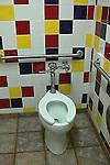 A toilet interior