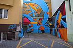 Colorful, abstract graffiti in Prague, Czech Republic, Europe