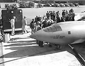 """On October 14, 1947, the Bell X-1 became the first airplane to.fly faster than the speed of sound. Piloted by United States Air Force Captain Charles E. """"Chuck"""" Yeager, the X-1 reached a speed of 1,127 kilometers (700 miles) per hour, Mach 1.06, at an altitude of 13,000 meters (43,000 feet). Yeager named the airplane """"Glamorous Glennis"""" in tribute to his wife. .Credit: U.S. Air Force via CNP"""