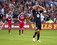 Nick DeLeon (18) of D.C. United reacts to a missed shot on goal during a Major League Soccer game at RFK Stadium in Washington, DC.  The Chicago Fire defeated D.C. United, 3-0.