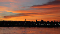 Evening view of the skyline of Bordeaux, Aquitaine, France, as seen from the Pont de Pierre, an arched bridge built 1810-22 over the river Garonne. Picture by Manuel Cohen