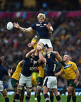 Richie Gray of Scotland wins the ball at a lineout. Rugby World Cup Quarter Final between Australia and Scotland on October 18, 2015 at Twickenham Stadium in London, England. Photo by: Patrick Khachfe / Onside Images