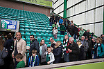 Hibernian 3 Alloa Athletic 0, 12/09/2015. Easter Road stadium, Scottish Championship. Home supporters making their way from the Famous Five Stand at Easter Road stadium at the conclusion of the Scottish Championship match between Hibernian and visitors Alloa Athletic. The home team won the game by 3-0, watched by a crowd of 7,774. It was the Edinburgh club's second season in the second tier of Scottish football following their relegation from the Premiership in 2013-14. Photo by Colin McPherson.